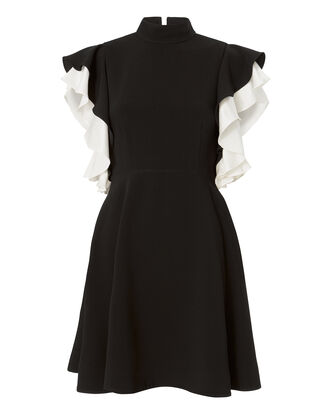 Reina Ruffle Sleeve Mini Dress, BLACK, hi-res