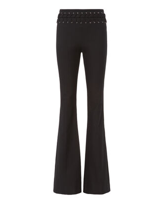 Lace-Tie Flare Pants, BLACK, hi-res