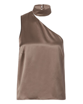 One Shoulder Choker Blouse, BEIGE/KHAKI, hi-res