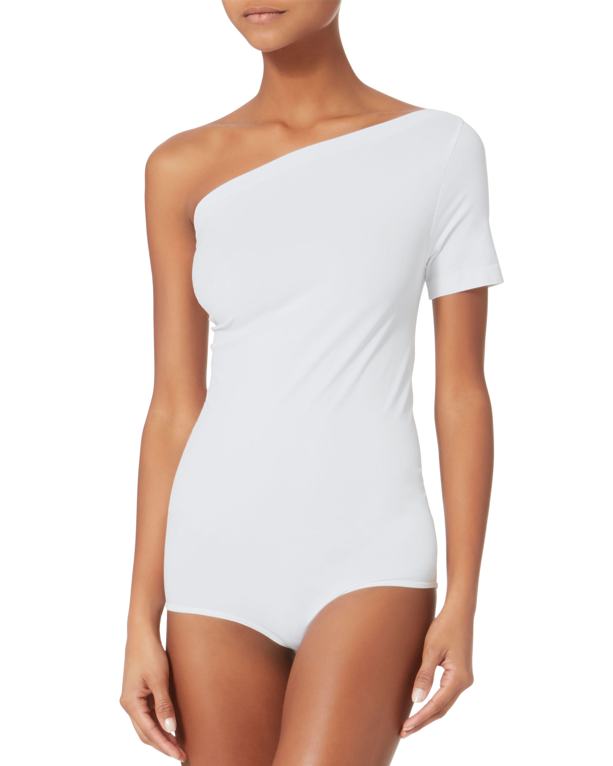 Asymmetrical Seamless Bodysuit, WHITE, hi-res