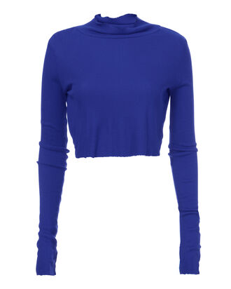 Melbourne Blue Cropped Turtleneck, BLUE, hi-res