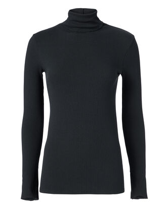 Black Split Sleeve Turtleneck, BLACK, hi-res