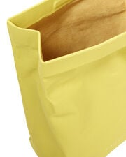 Foldover Yellow Leather Lunchbag, YELLOW, hi-res