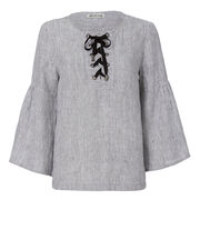 Lula Bell Sleeve Linen Top, STRIPE, hi-res