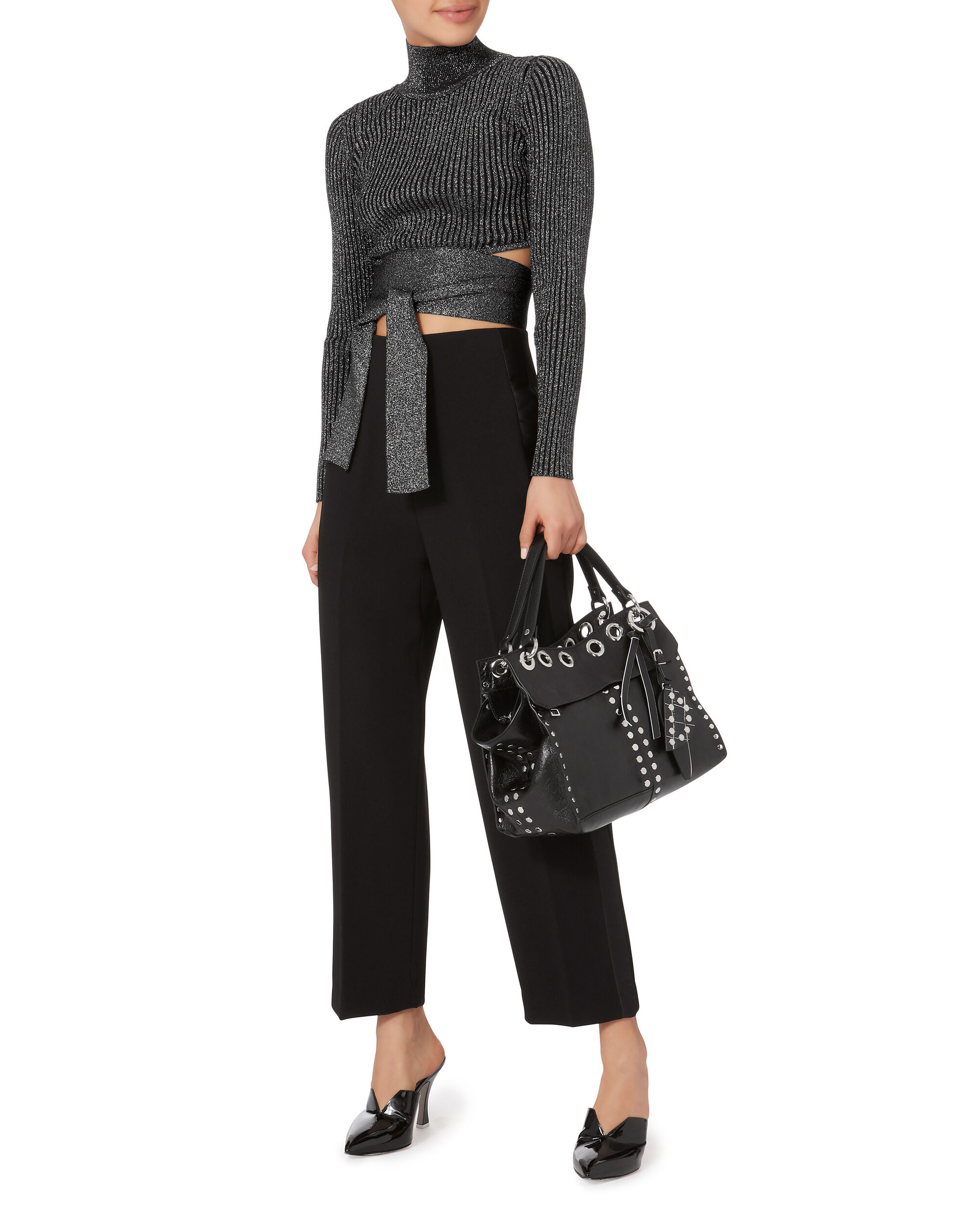 Waist Tie Cropped Sweater, BLACK, hi-res
