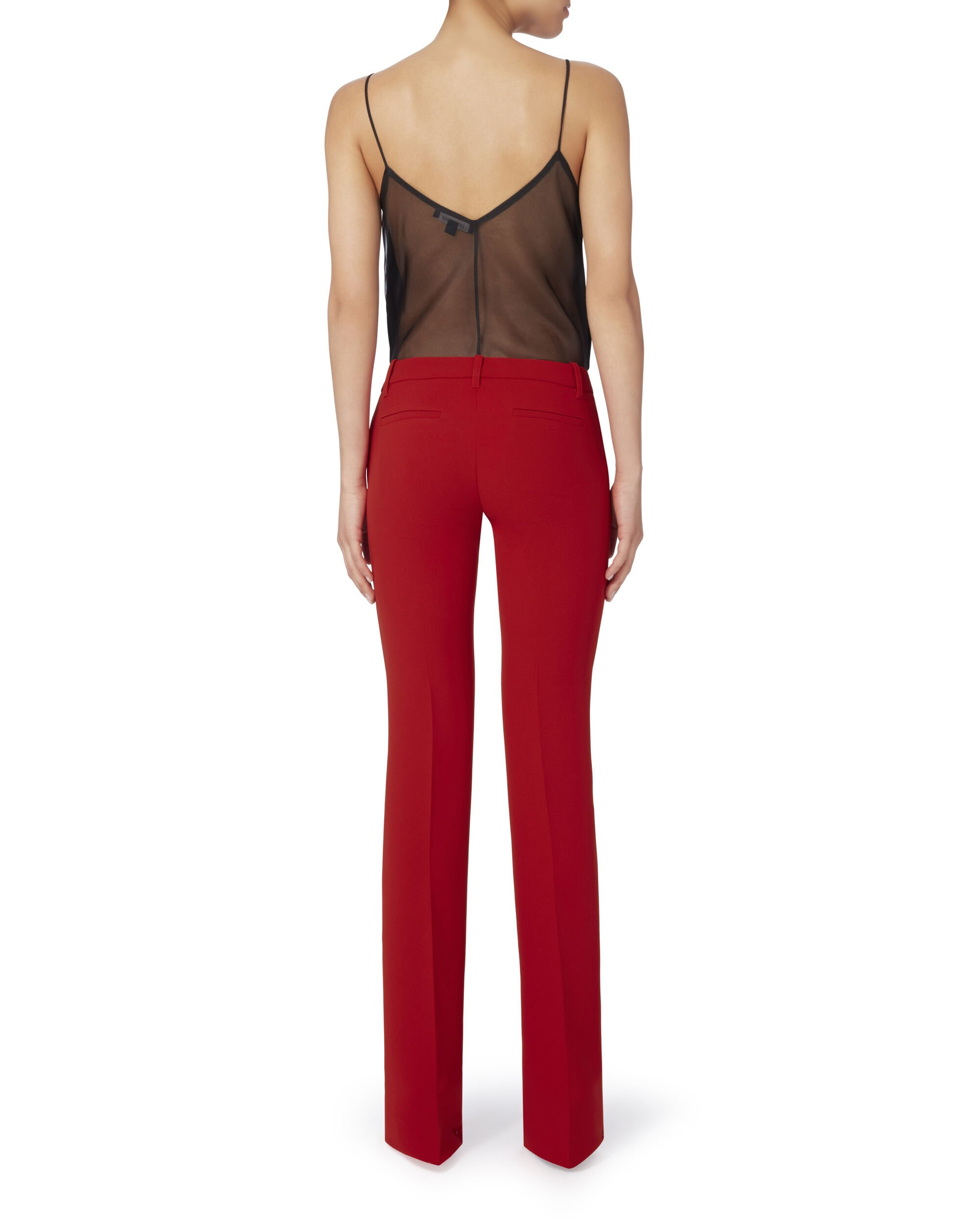 Red Mid-Rise Flare Pants, , hi-res