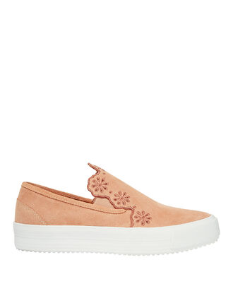 Floral Suede Slip-On Sneakers, PINK, hi-res