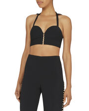 Pearl Studded Black Bustier Top, , hi-res