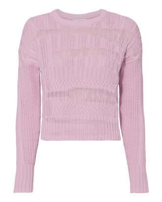 Leilani Mixed Cable Knit Sweater, PINK-LT 2, hi-res