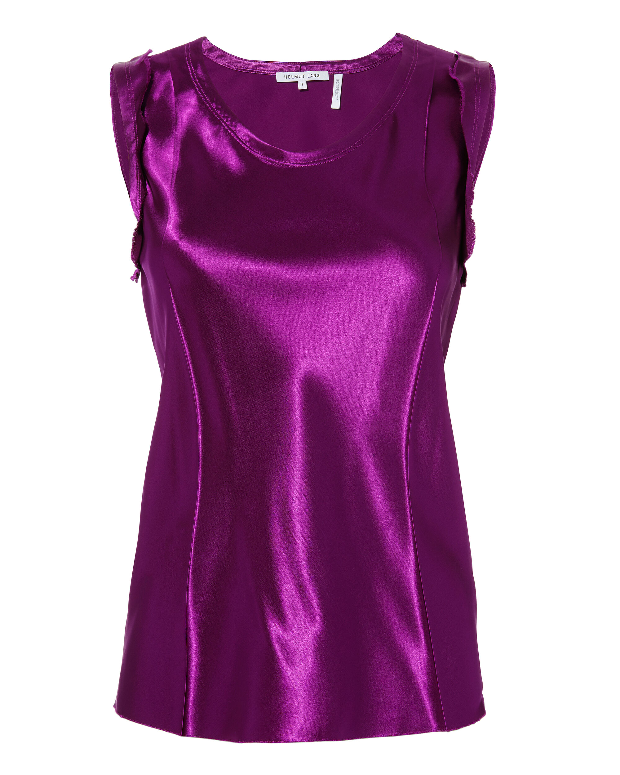 RAW EDGED SATIN TOP, SIZE US2, WOMEN, PURPLE