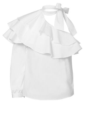Gigi One Shoulder Ruffle Top, IVORY, hi-res