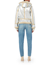 Shearling Trim Silver Flying Jacket, , hi-res