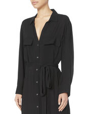 Black Maxi Shirtdress, BLACK, hi-res