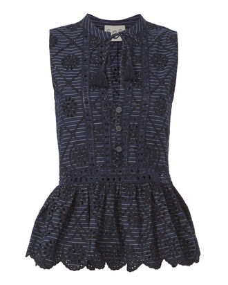 Eyelet Pinstriped Embroidered Topp, NAVY, hi-res