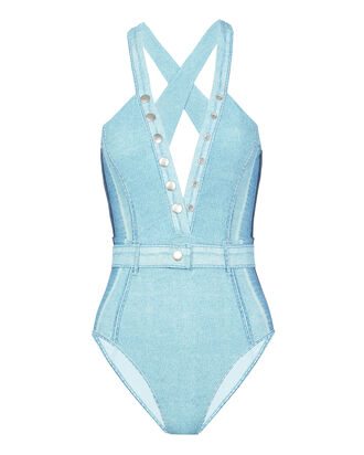Vintage Denim One Piece Swimsuit, DENIM, hi-res