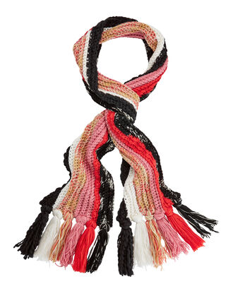Chunky Knit Tassel Edge Scarf, RED, hi-res