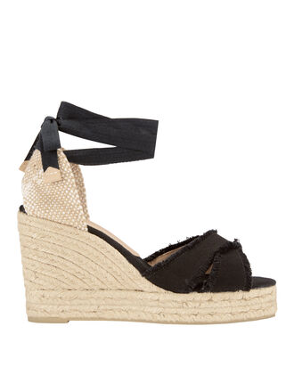 Bluma Fringed Canvas Wedge Espadrilles, BLACK, hi-res