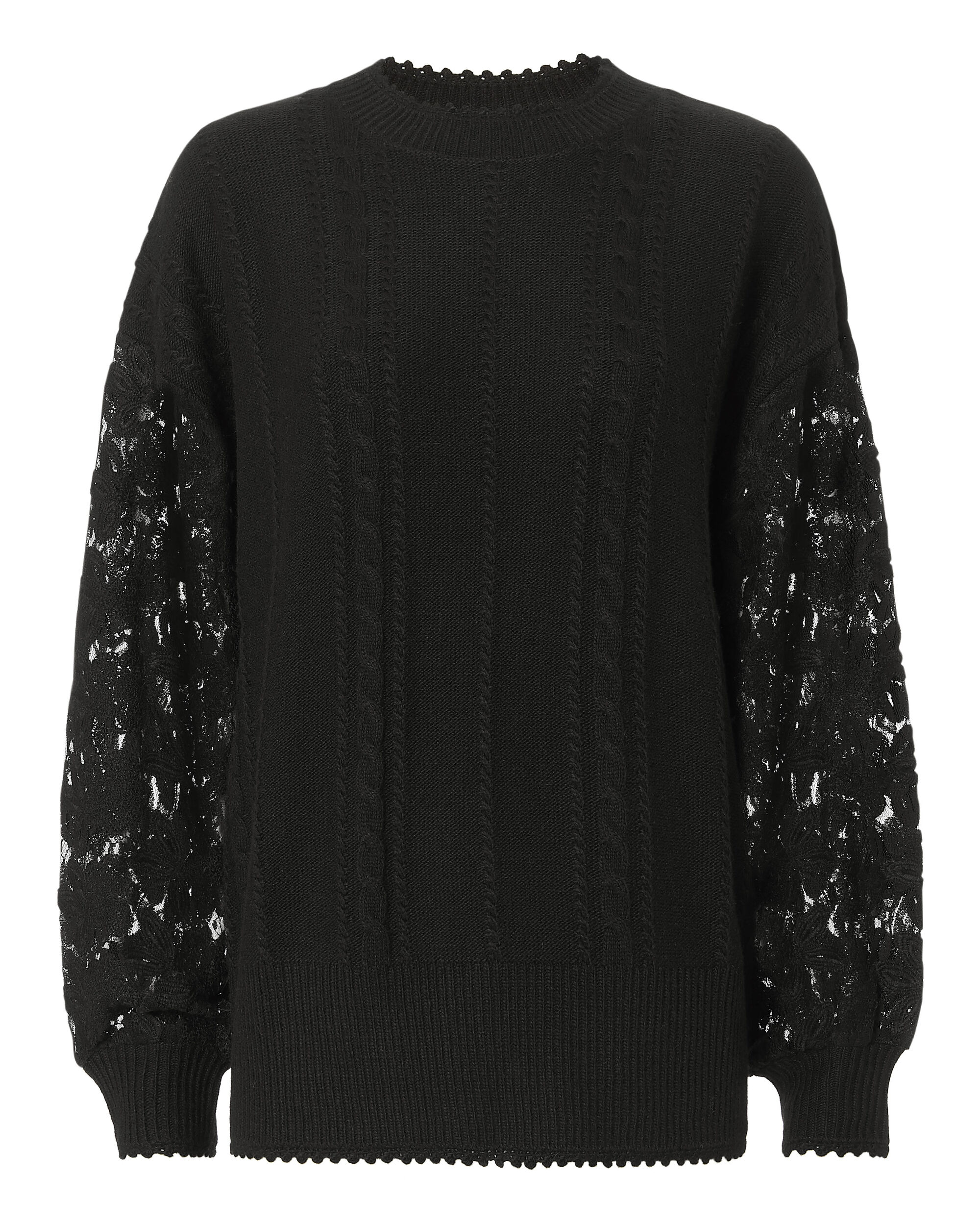 Lace Sleeve Pullover Sweater, BLACK, hi-res
