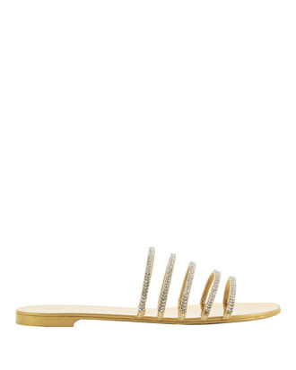 Strappy Crystal-Embellished Slide Sandals, METALLIC, hi-res