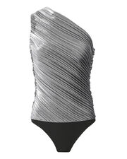 One Shoulder Silver Lamé  Bodysuit, METALLIC, hi-res