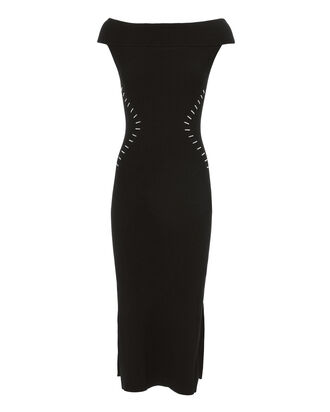Studded Waist Ribbed Knit Dress, BLACK, hi-res