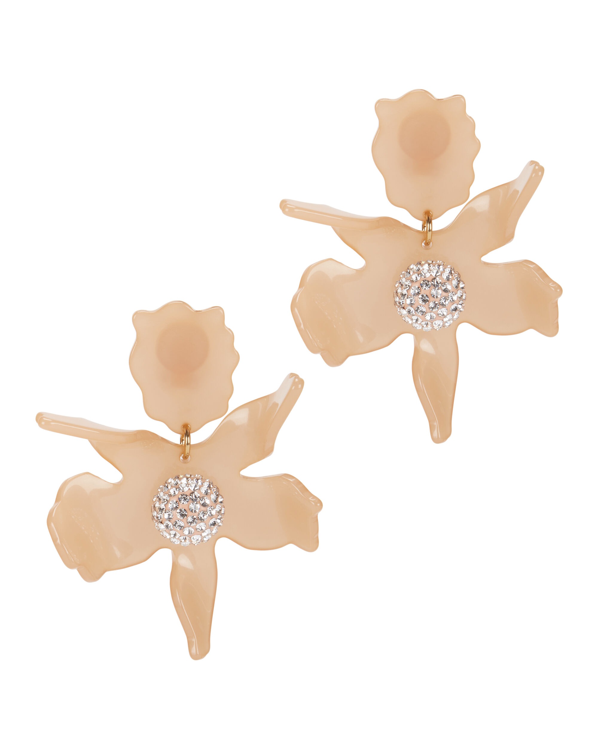 Crystal Lily Blush Earrings, BLUSH/NUDE, hi-res
