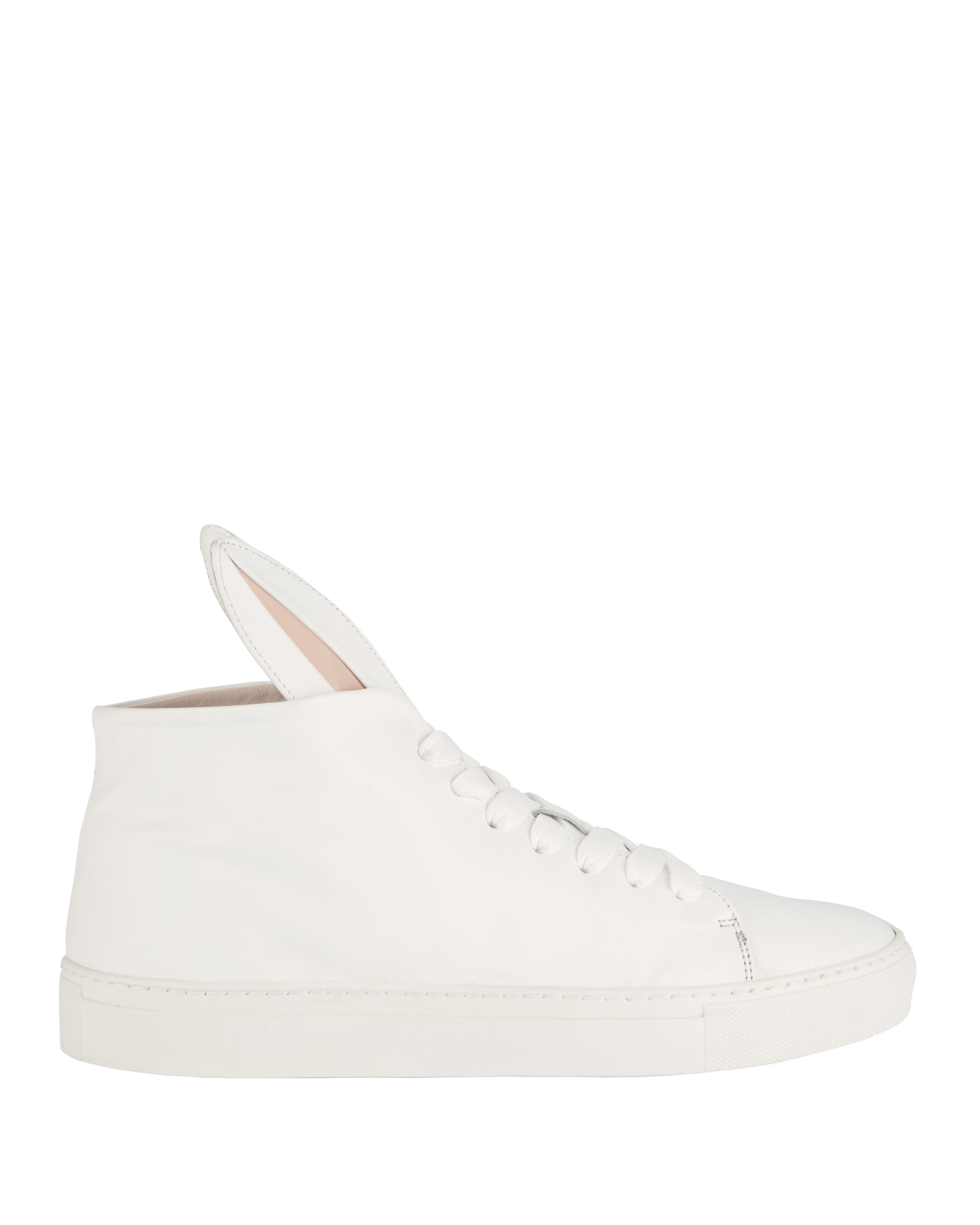 Bunny Hi-Top Leather Sneakers, WHITE, hi-res