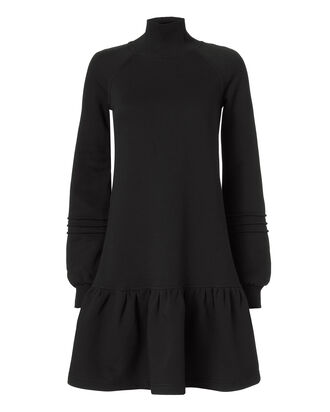 Turtleneck Drop Waist Ruffle Dress, BLACK, hi-res