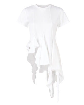 Distressed Hem Cotton T-Shirt, WHITE, hi-res