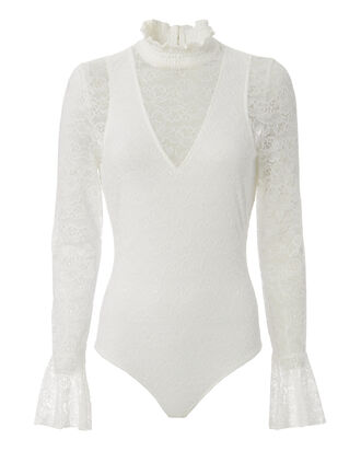 Camille Mock Neck Lace Bodysuit, WHITE, hi-res