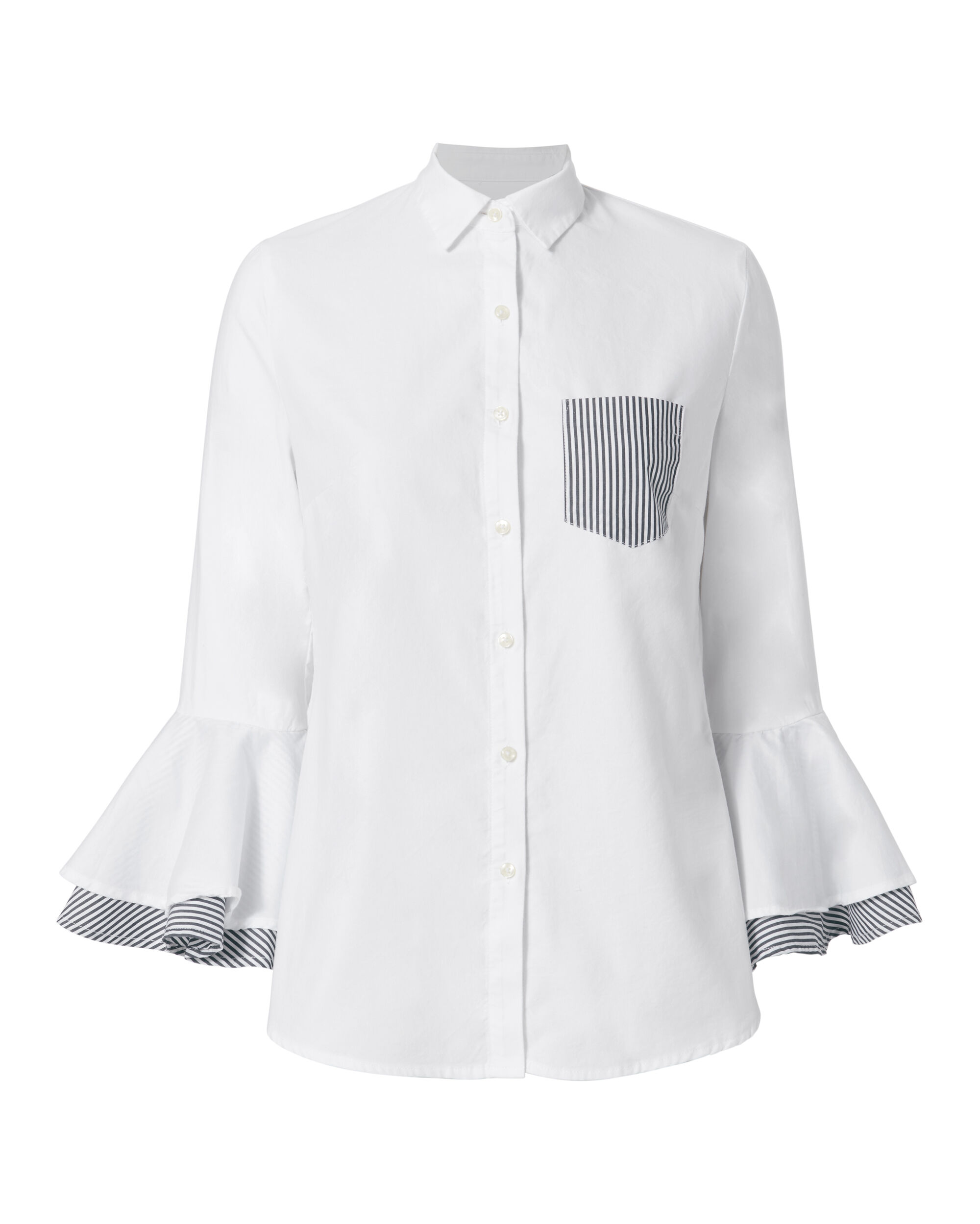 Bell Sleeve Contrast Blouse, WHITE, hi-res
