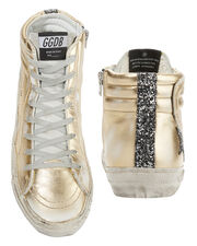 Glitter Star Gold Leather High-Top Sneakers, METALLIC, hi-res