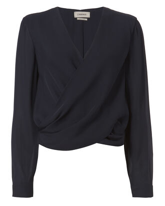 Gia Cross Front Blouse, NAVY, hi-res