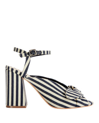 Leigh Bow Stripe Sandals, WHITE, hi-res