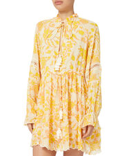 Clarion Printed Mini Dress, YELLOW, hi-res