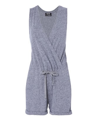 Cross Front Grey Romper, GREY, hi-res