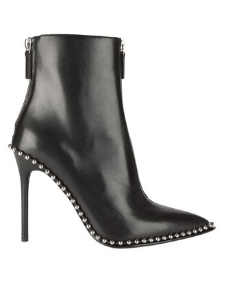 Silver Stud Pointed Toe Booties, BLACK, hi-res