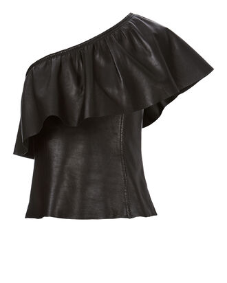 Davos One Shoulder Leather Top, BLACK, hi-res