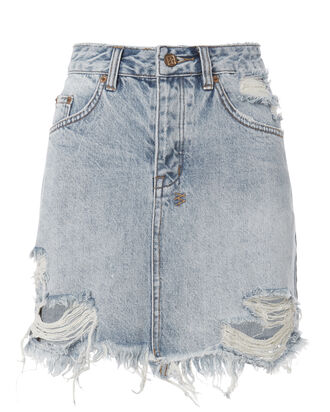 Mini Moss Distressed Denim Skirt, DENIM, hi-res