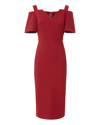 Awalton Cold Shoulder Sheath Dress, RED, hi-res