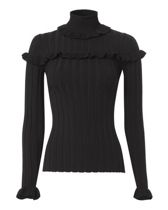 Tate Ruffle Rib Turtleneck, BLACK, hi-res