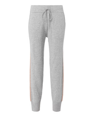 Lurex Stripe Cashmere Pants, GREY, hi-res