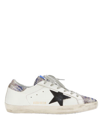 Superstar Zebra Glitter White Leather Sneakers, PRINT, hi-res