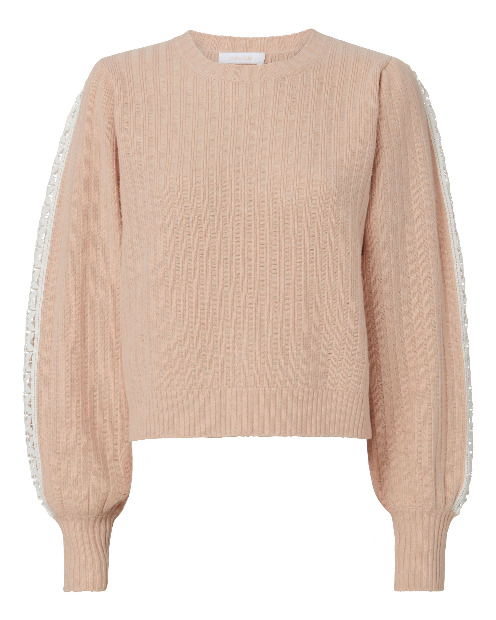 Crochet Detail Pullover, BLUSH/NUDE, hi-res
