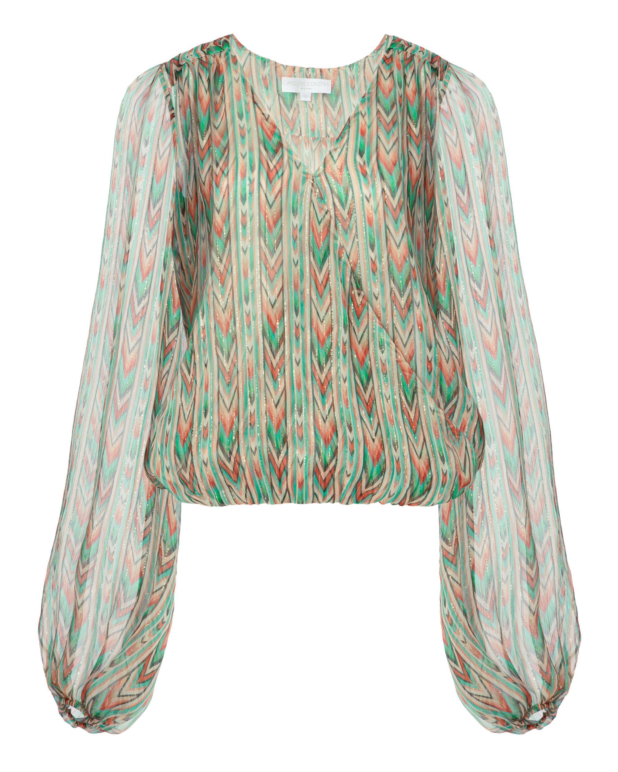 Lurex Printed Silk Blouse, NUDE, hi-res