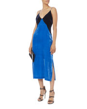 Blue Velvet Colorblock Slip Dress, MULTI, hi-res