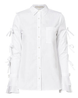 Pearl Detail Tie Sleeve Shirt, WHITE, hi-res