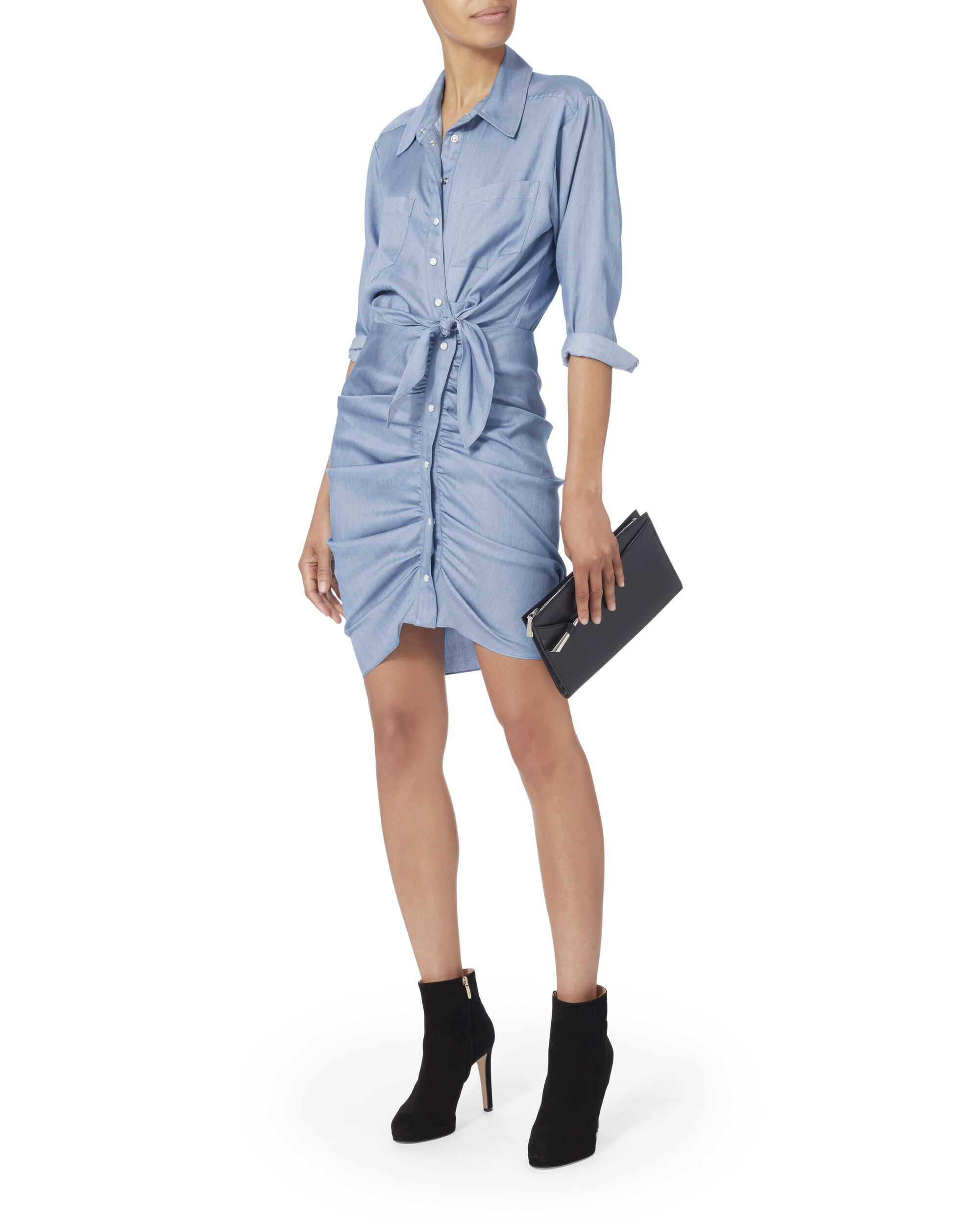 Sierra Chambray Ruched Mini Dress, , hi-res