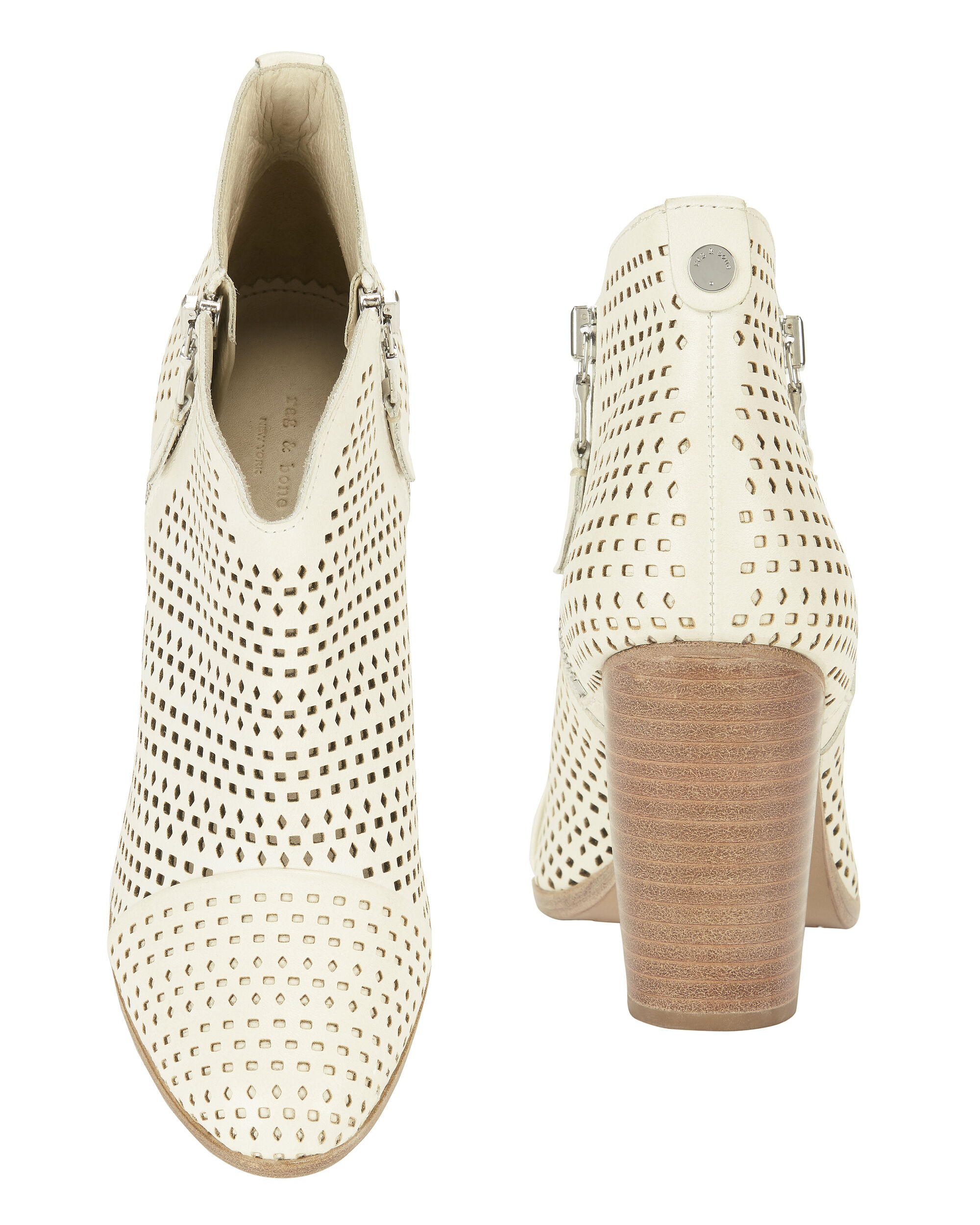 Margot Perforated Leather Double Zip Booties, WHITE, hi-res