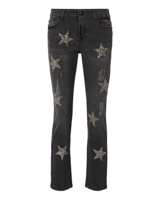 Silver Sequin Dark Grey Jeans, GREY, hi-res